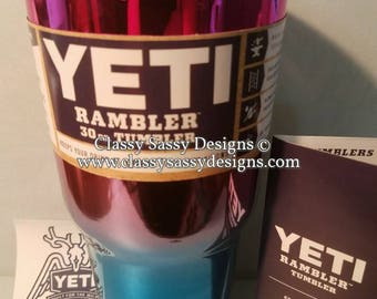 30 oz printed Yeti mermaid rambler tumbler O1 - ombre two-tone yeti pink / blue IN STOCK!