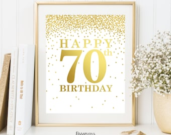 Happy 70th Birthday, Set of 2 Printables, 70th birthday decor, 70th birthday sign, Birthday party decorations, Birthday Printable Banner