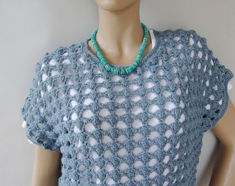 Crochet Sweater, Layering Piece, Blue Sweaters, Alpaca Sweater, Crocheted Sweaters, Crochet Tops, Open Stitch Top, Available in M and L/XL