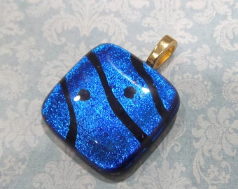 Blue Pendant, Royal Blue Necklace, Fused Glass Jewelry OOAK, Omega Slide, Large Gold Bail, Fused Glass Pendant - Deep Blue Sea - 2907-6