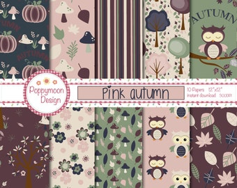 Pink Autumn,owls,trees and leaves, printable digital paper pack