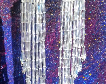 Classy one of a kind iridescent beaded earrings