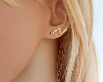 Lightning bolt earrings, lightning earrings up the ear or dangle, gold filled ear sweeps