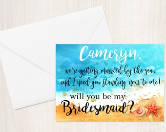 Will you be my Bridesmaid? Beach Greeting Card Note Card - Maid of Honor, Matron of Honor, Bridesmaid Ask Card with Metallic Envelope