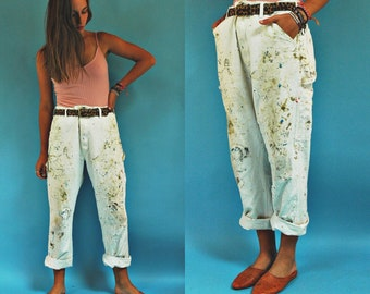 1970s Paint Splatter Stan Ray White Painters Work Pants