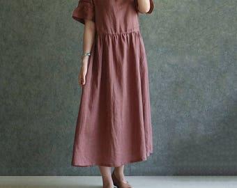 Linen dress,travel dress,holiday dress,Red curry linen dress