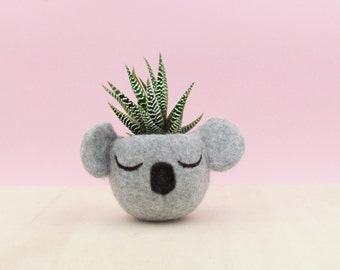 Koala Succulent planter teacher gift |  Plant pot Cute planter Koala gift desk decor gift Personalized planter grey planter succulent pots