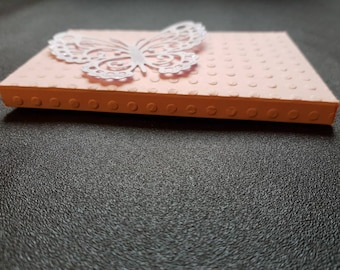 Stationery, envelope clutch pink embossed paper for small gift card