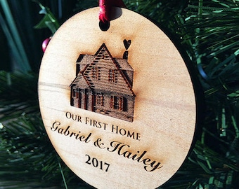 Our First Home Christmas Ornaments Handmade, Personalized Wood Ornament Housewarming Holiday Gift - Log Cabin House - Custom Text - SKU#256