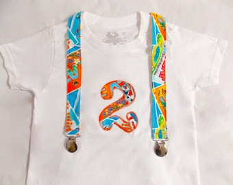Olaf Outfit Birthday Shirt and Suspenders: Boy party outfit, snowman, colorful, birthday shirt, age, party, photo shoot, frozen boy birthday