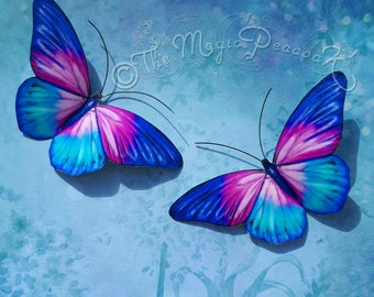 Blue Pink Purple & Turquoise Summer Shimmer Sparkle 3D Butterfly wall decoration/decal