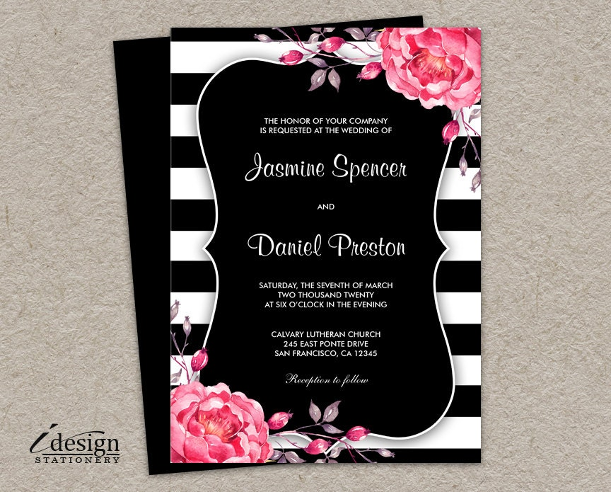 Striped Wedding Invitations: Floral Black And White Striped Wedding Invitation With Pink
