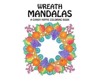 Wreath Mandalas Coloring Book - printable adult coloring book for adults and big kids - 12 wreath coloring pages