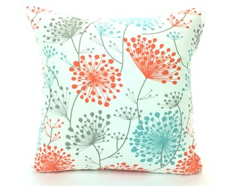 Aqua Gray Coral Throw Pillow Cover Aqua Salmon Dandelion Decorative Pillow Couch Sofa Bed Pillow Floral Accent Cushion Cottage Chic Decor