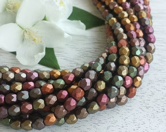 4mm Czech Fire Polished Beads >> Matte Bronze Iris, Multi-Color >> 1, 2 or 5 Strands (50, 100 or 250 pcs) - Designer Glass, Faceted, Round