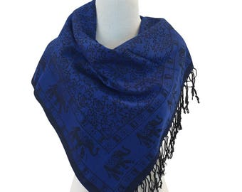 Pashmina Scarf Dark Blue Scarf Pashmina Shawl Gift For Her Fashion Accessories Mothers Day Pashmina Scarves Women Scarf