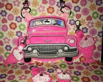 Pink Cadillac Zipper Bag with Shake Zipper Pull