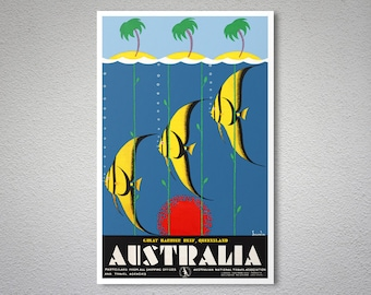 Australia  Great Barrier Reef Queensland - Travel Poster - Poster Print, Sticker or Canvas Print / Christmas Gift