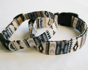 Southwest- Aztec- Tribal Stripe- Navy Khaki Stripe Adjustable Dog- Pet Collar- Pet Accessories- Supplies 1, 1.5 and 2 inch width