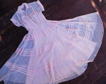 "PETAL Pink 1940's Vintage Sheer Light Organza Picnic Dress w/ Full Striped Skirt + Ball Buttons // size XXS XS Small Bust 30 31"" / Waist 24"""