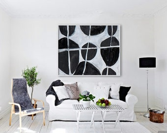 """Large Giclée PRINT, Abstract print of original painting. Modern, contemporary art, Black and White colors. """"Arrangement"""""""