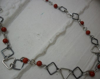 Silver necklace sterling and sardoines