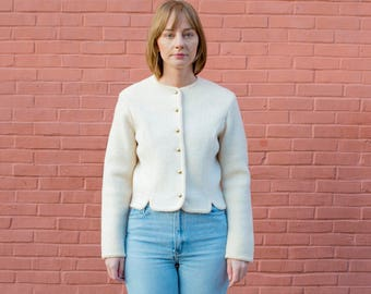 vintage ivory wool cardigan jacket | gold button sweater | boiled wool white jacket | fitted cream cardigan | m | medium | 1970s | 70s