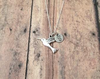 Hummingbird initial necklace - hummingbird jewelry, bird watcher necklace, spring jewelry, bird jewelry, silver hummingbird pendant