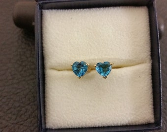 14K Yellow Gold blue topaz heart Shape  Earrin.
