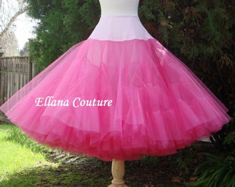 Hot Pink Tea Length Crinoline. MEGA Fullness Petticoat. Available in Other Colors.