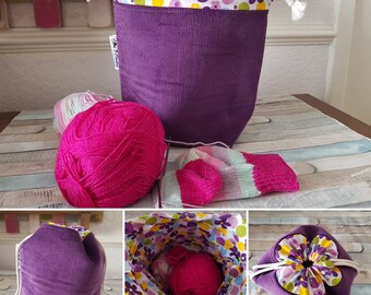 Drawstring Bag - Knitting Project Bag - Sock Sack Bag - Crochet Project Bag - Sewing Bag - Purple - Flowers