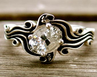 White Sapphire Ring in Sterling Silver with Ocean Sea Surf Theme with Blackened Grooves Size 6