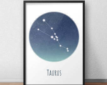 Taurus Constellation Art Print, Star Sign Print, Constellation Art, Zodiac Poster, Zodiac Print, Astrology