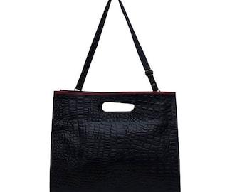 BLACK LEATHER BAG - Women Modern Clutch