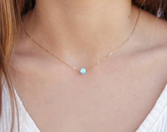 Opal necklace / Charm necklace / Gold, Sterling silver chain / Tiny One 5mm White - Blue Opal / Gift for her / Delicate necklace