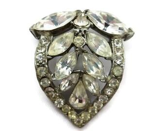 Rhinestone Brooch - Leaf, Costume Jewelry