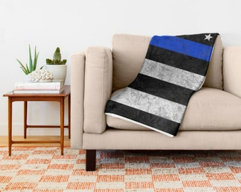 Throw Blanket - The Thin Blue Line - 3 Sizes, 2 Styles - American Flag