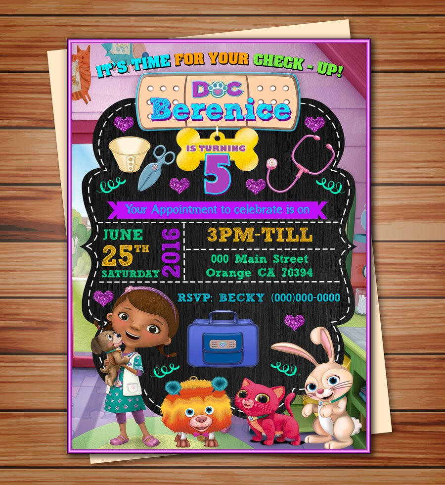 Doc McStuffins pet vet party invitation Doc McStuffins party
