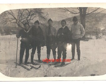 Vintage ski Winter sport photo antique boots