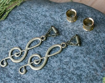 Music Note G Clef Magnetic Clasp Gauged Earrings