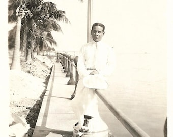 """Vintage Snapshot """"Miami Rhapsody"""" Elegantly Dressed Handsome Man Panama Hat White Trousers Two-Tone Shoes Palm Trees Found Vernacular Photo"""