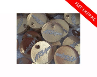 Custom Jewelry Tags - 100 Pcs Laser Cut & Engraved with Your Monogram or Logo. Shaped, Clear - Gold