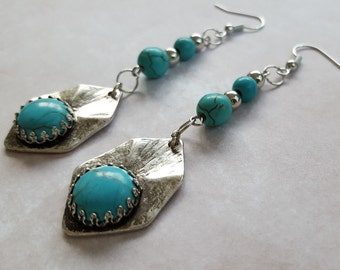 BOHO Turquoise & Silver Metal Beaded Dangle Earrings with Southwestern Antique Silver Plate and Decorative Bead Mounting. Hang Three Inches.