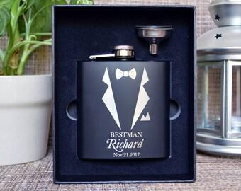 Monogrammed flask, Personalized flask, Engraved flask, Groomsman Gift, Black Matte Flask, Groomsman flask, Custom flask, hip flask. FL007