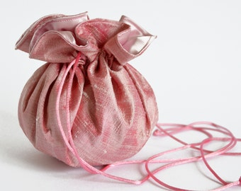 Pink Silk Drawstring bag, Bridal bag, Bridal Accessory, Pink Silk Bag, Pink Pouch, Flower Girl bag, Pink Drawstring Bag