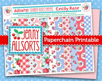 Cecily Rose Shabby Roses Printable Paper Chain, Party Supplies, Decoration