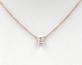 Diamond Solitaire Necklace, Diamond Necklace, Brilliant Cut 0.30 Ct. Natural Diamond Bezel Set Necklace, Minimalist Necklace