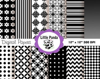 60% OFF SALE Black and White Digital Scrapbook Paper Pack, Commercial Use, Personal Use, 12 jpg files 12 x 12 - Instant Download - D2
