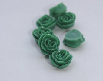 10 SMALL ROSE Cabochons - 12mm - Emerald Green Color