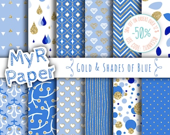 "Light Blue digital paper: ""Gold & Shades of Blue"" gold glitter on blue and light blue backgrounds  with chevron, polka dots, hearts and more"